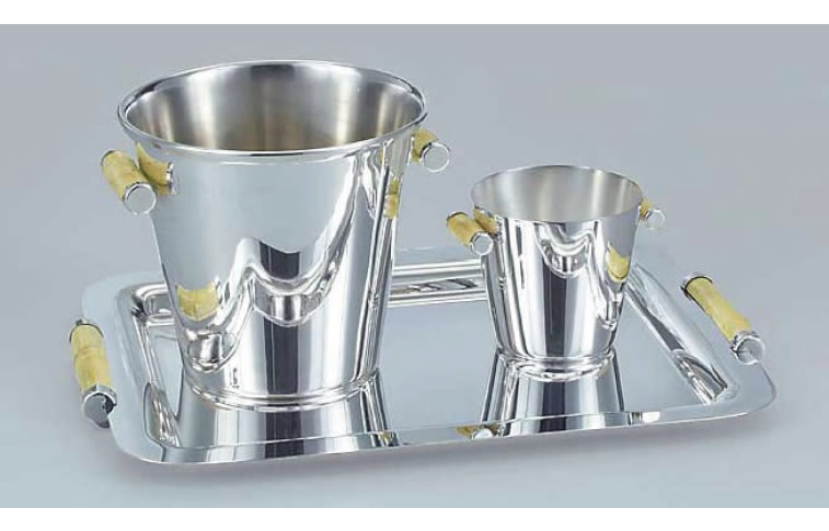 Silverplated Champagne Bucket With Cane Handles H 8 4188 Ice Pail 41 11580 Tray